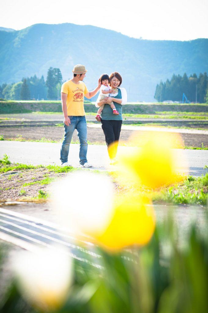 黄色い花の向こうに歩く家族の写真